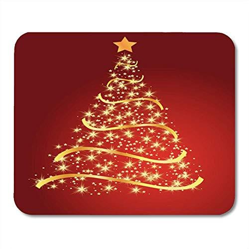 Red Fir, Red Lights (KKISTORE Gaming Mauspads Pad Light Golden Fir on Red Christmas Tree Gold Star 11.8