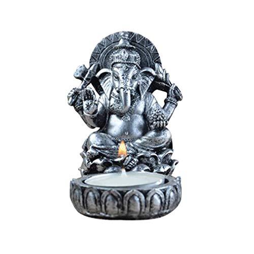 VOSAREA Teelichthalter Kerzenhalter Retro Harz Thai Elefant Buddha Traditionell Weihrauchhalter Figur für Wohnzimmer Deko Figur (Grau) -