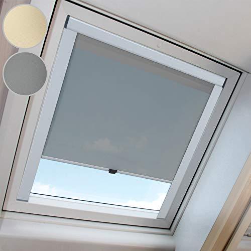 MIADOMODO Dachfensterrollo - Rollo in Verschiedenen Größen, in Beige oder Grau, schützt vor Lichteinfall, aus widerstandsfähigem Aluminium und Polyester - Dachrollo, Sonnenschutz, Verdunkelungsrollo