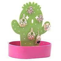 LUOEM Cactus Earrings Holder Hangers Rings Jewelry Organizer Display Stand Bracelet Storage Rack Crafts (Rose Red)