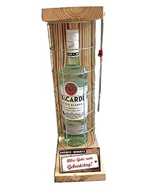 """""""Alles Gute zum Geburtstag"""" Die Eiserne Reserve mit einer Flasche Bacardi Rum 0,70L incl. Bügelsäge zum aufschneiden des Metallgitters - Das ausgefallenes witziges originelles lustiges Geschenk Geschenkset Flaschenkorb für über 170 verschieden Anlässe - D"""
