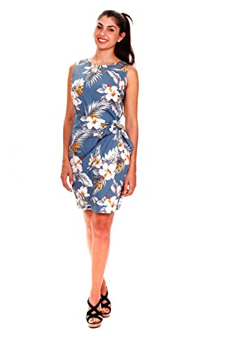Pacific-Legend-Original-Hawaii-vestido-Mujer-S-XXL-Verano-Hawaii-de-Print-Flores-gris-azul-gris-azul-S