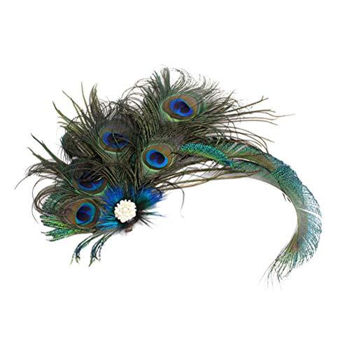 Frcolor 1920 Pfau Feder Haarspange Gatsby Flapper Pfau Feder Kopfstück