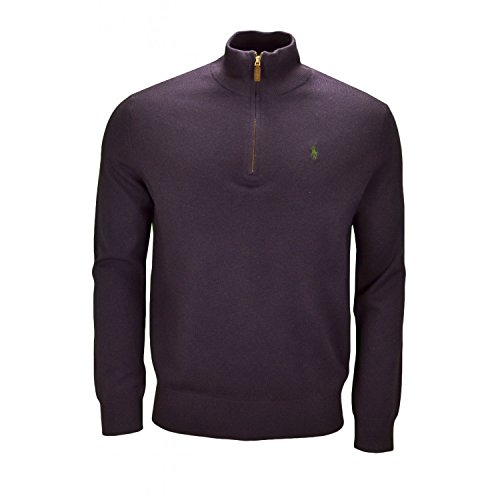 Polo Ralph Lauren Half Zip Lambswool Jumper NAVY Small (Half Lambswool Zip)