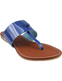 Leather Flats | Classy Ladies Slippers |Formal Ladies Flats (8, Blue)