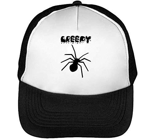 Creepy Splashed Black Spider Halloween'S Artwork Trucker Cap Herren Damen Schwarz weiß Snapback (Miley Cyrus Halloween)