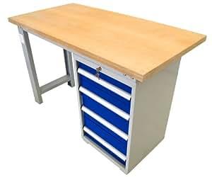 werkbank werkstattbank arbeitstisch 150cm mit einem unterschrank blau baumarkt. Black Bedroom Furniture Sets. Home Design Ideas