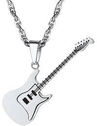 PROSTEEL Chaîne et Pendentif Guitare Personnalisable Collier Homme Acier Plaqué  Or Jaune Métal Noir Bijoux Tendance… edc90cc5d6db