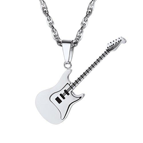 Colgante Punk Rock Estilo Collar de Guitarra para Hombre Tono Plata Reaglo para Hombre