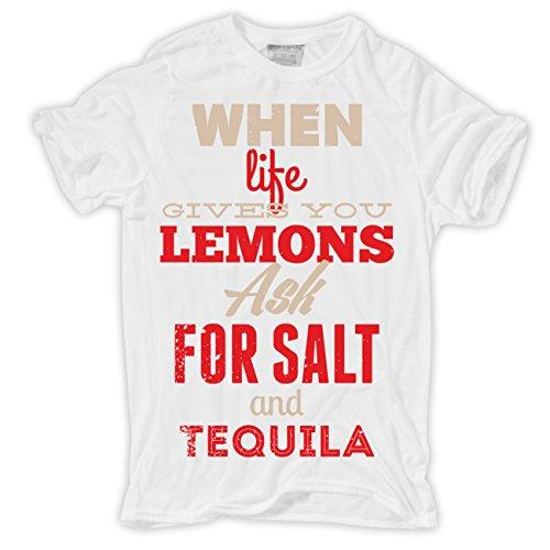 Männer und Herren T-Shirt Lemons & Tequila Körperbetont weiß