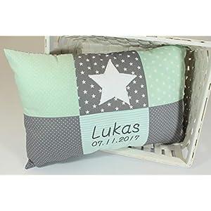 Kissen Patchwork mit Stern und Namen Geburtsdatum mint grün grau personalisiert Kinderzimmerkissen Geschenk Babykissen Kinderkissen