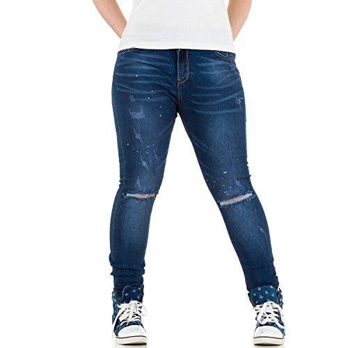 Damen Jeans, DESTROYED ÜBERGRÖßEN SKINNY JEANS, KL-J-D6660 Blau