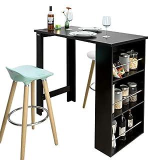 SoBuy® FWT17-Sch Table de Bar Mange-Debout Table Haute de Cuisine avec 3 étagères de Rangement – Noir