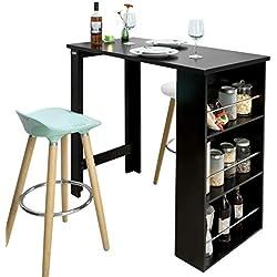 SoBuy® FWT17-Sch Table de Bar Mange-Debout Table Haute de Cuisine avec 3 étagères de Rangement - Noir