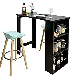 SoBuy® FWT17-SCH, Kitchen Dining Table, Bar Table Coffee Table with 3-Tier Storage Rack, Black