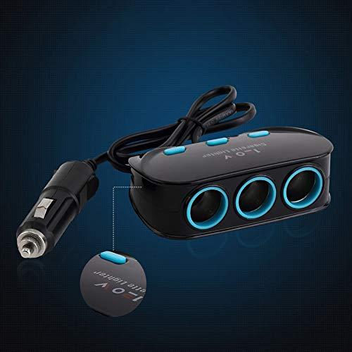 Nevter359 Auto Zigarettenanzünder Ladegerät, unabhängiger Schalter Dual-USB-Anschluss Schnellladung Kfz-Ladegerät 3 Zigarettenanzünder-Adapter Schwarz -