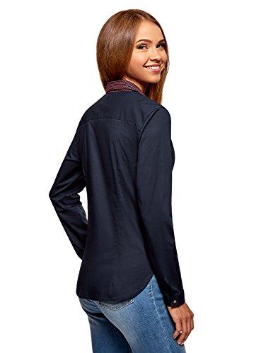 oodji Ultra Donna Camicia Basic con Taschino Blu (7945B)