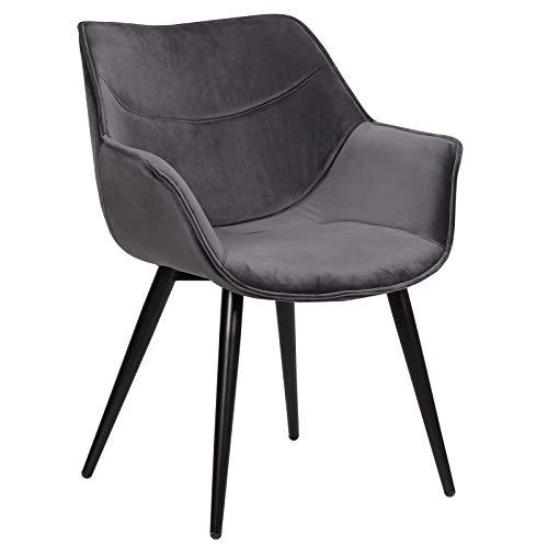 WOLTU Esszimmerstühle BH146dgr-1 1x Küchenstuhl Wohnzimmerstuhl Polsterstuhl mit Armlehen Design Stuhl Samt Metall Dunkelgrau