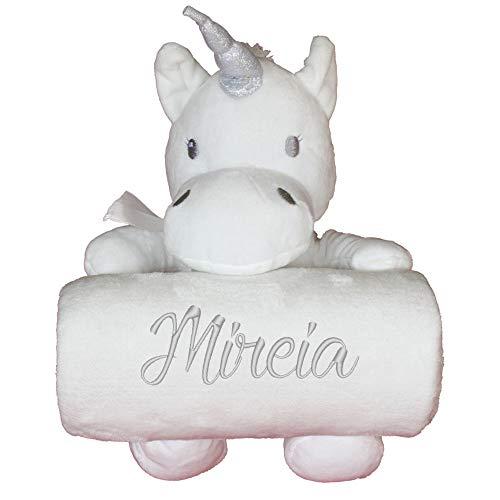Manta bebé personalizada + Unicornio de peluche, color Blanco