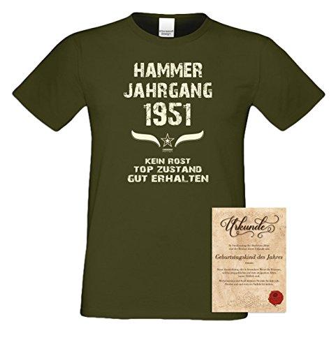 Geschenk Set : Geschenkidee 66. Geburtstag ::: Hammer Jahrgang 1951 ::: Herren T-Shirt & Urkunde Geburtstagskind des Jahres für Ihren Papa Vater Opa Großvater ::: Farbe: schwarz Khaki
