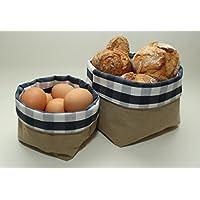 Brotkorb-Set | Brotkörbchen | Brötchenkorb | 2er Set Körbchen | Frühstückskorb 2 Stück | dunkelblau-weiß kariert