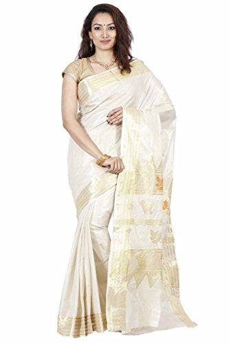 The Chennai Silks Cotton Saree with Blouse Piece (CCRICS179_Off-White_Free Size)