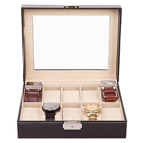 TRESKO® Uhrenbox für 10 Uhren Uhrenkasten Uhrenschatulle Uhrenkoffer Uhrenaufbewahrung aus Kunstleder, schwarz