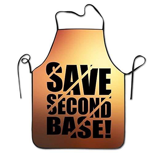 ERCGY 2019 Apron Personalized Aprons Save 2nd Base! Lock Edge Hen Waitress Sexy Kitchen Apron - Bistro Base