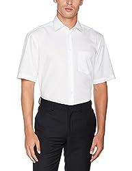 Seidensticker Herren Business Hemd Comfort Fit - Bügelfreies, legeres Hemd mit Kent-Kragen & Brusttasche - Kurzarm -100% Baumwolle ,Weiß (Weiß 01) ,41