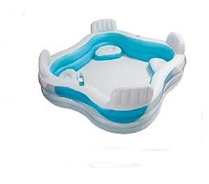Piscina gonfiabile con 4 sedute e portabevande incluse for Sedute per piscine
