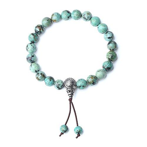 coai Geschenkideen Glücksarmband aus Afrikanischer Türkis mit 925 Sterling Silber Charm Guru-Perle für Damen und Herren - Mit Türkis-perlen Armband