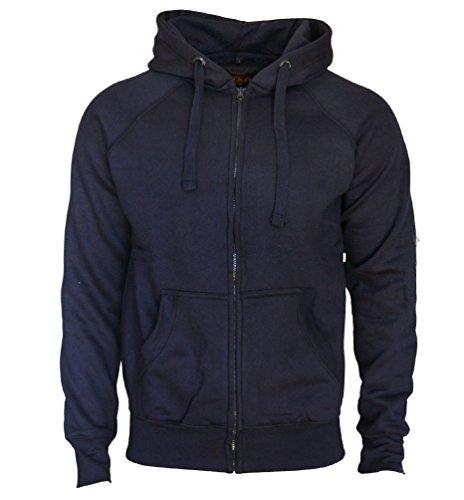 Kapuzenjacke Slim Fit Sweatjacke Heavy Hoodie Zipper Workerhoodie Pullover von ROCK-IT - Herren - Schwarz Grün Navy Dark Heather Grau S-5XL Navy Blau