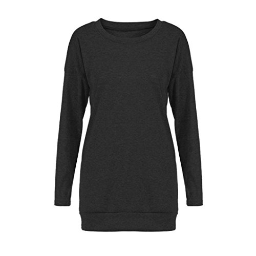 Sweat-shirts Femme Pulls Oversize Longra Col rond Uni Blouse Femme Chic Chemisiers Femme Tops à manches longues T-shirts Taille loose Originaux Tunique Haut Rétro Élégant Mode Femme Noir