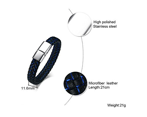 Imagen de vnox estilo retro de acero inoxidable para hombre genuino azul pulsera de cuero trenzado negro ojo de horus pulsera brazalete,21cm alternativa