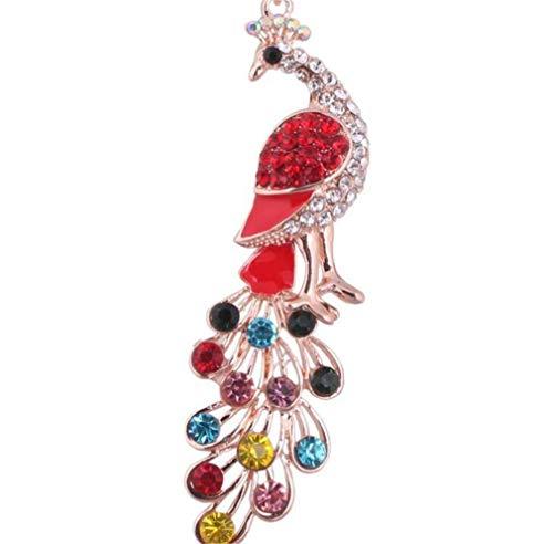 Schlüsselanhänger mit Strass Glitzer Pfau Anhänger Taschenanhänger strass Mode Keychain Elegant Schlüsselring (Rot)