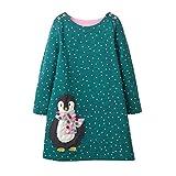 Kinder Mädchen Baumwolle Langärmelige Punkte Niedlich Pinguin Cartoon Print Kleid Familie Mädchen Baumwolle Outfits/4T