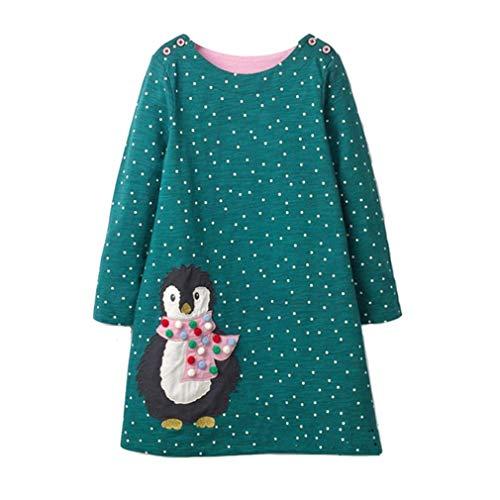 Kinder Mädchen Baumwolle Langärmelige Punkte Niedlich Pinguin Cartoon Print Kleid Familie Mädchen Baumwolle ()