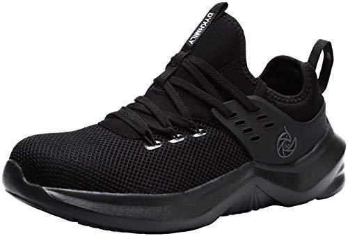 Zapatillas de Seguridad Hombre,LM-1035 Zapatos Antideslizantes con Punta de Acero 43 EU, Negro
