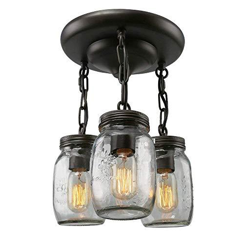 Mason Jar Restaurant (Vintage Industriell Deckenleuchte Mason jar Lampe Retro Glas Lampenschirm Deckenlampe Schwarz Eisen Decken Licht für Loft Foyer Flur Küche Esszimmer Treppe Schlafzimmer Wohnzimmer Balkon, 3 Flammig)