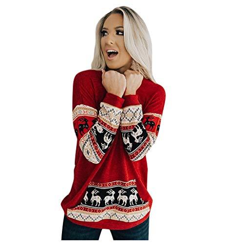 LianMengMVP Damen Weihnachten Langarmshirt Rundhals Pullover Slim Fit Sweatshirt Red Splice Festival Print Tasche Pullover Tops Bluse (Rot, M)