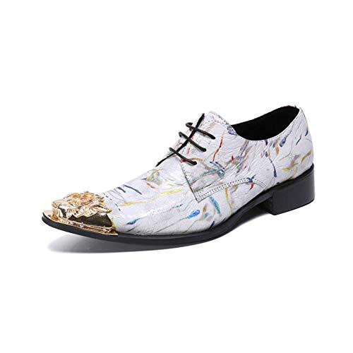 Western-leder-schuhe (HMNS Shoes Herren Lederschuhe Metall Spitzschuhe Schnürschuhe Lässige Western Cowboy Männer Leder Schuhe für Geschäftsessen Hochzeit Weiß Halbschuhe Größe 39 bis 46,White,EU45/UK11)