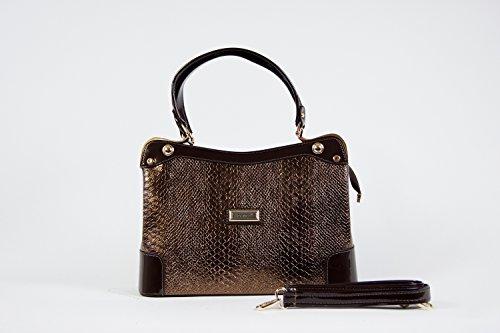 Tasche Damentasche Handtasche Luxus Taymir Schlangenhaut 2 Jahre Garantie Gold