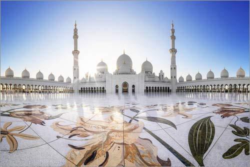 Posterlounge Acrylglasbild 100 x 70 cm: Scheich-Zayid-Moschee von Dieter Meyrl - Wandbild, Acryl Glasbild, Druck auf Acryl Glas Bild