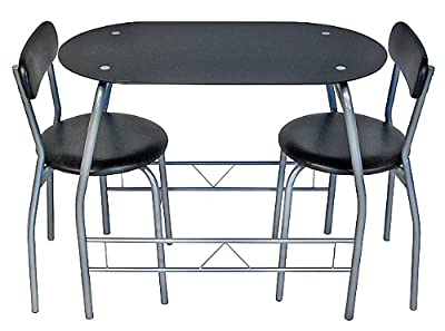 New Glass Chrome Black Dining Table Set With 2 Chairs