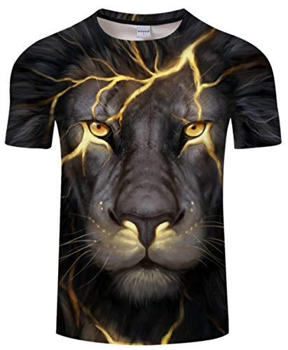 Kostüm Tiger Realistische - Star source 3D Digital Tiger Print T-Shirt Herren Sommerhemd Casual Kurzarm T-Shirt und Top Street Kostüm Animal @ XXL_Lucky
