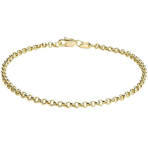 Erbsarmband Rolo link 14 Karat / 585 Gelbgold Breite 2.70 mm (21) - Armband Gelb Herren 14k Gold