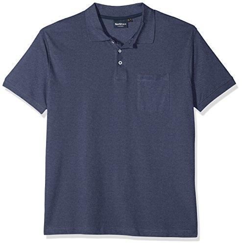 North 56-4 Herren Poloshirt 99011, Blau (Blue Melange 0555), XXXXX-Large (Herstellergröße: US-4XL) - Pocket Pique Polo-shirt