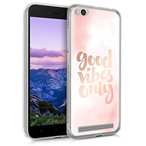 kwmobile Funda para Xiaomi Redmi 5A - Carcasa de TPU para móvil y diseño Buenas Vibraciones en Rosa Claro/Oro Rosa/Blanco