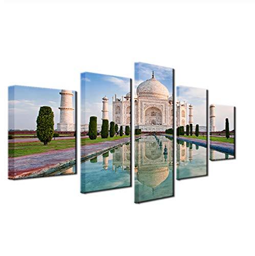GLORIOUS.YY Leinwandbilder Wohnzimmer Taj Mahal Reflection View Paintings, Weißes Gebäude Kunstdrucke Wandbild Restaurant Cafe Küchen Dekoration 5 Teilig 200X100Cm