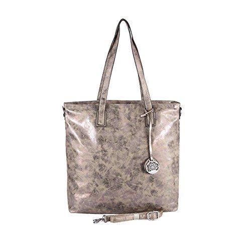 OBC donna metallizzato BORSA SHOPPER HOBO BAG Borsa a tracolla borsetta con manici borsa marsupio - Rosa Antico, ca 40x36x16 cm (BxHxT) Talpa 41x37x12